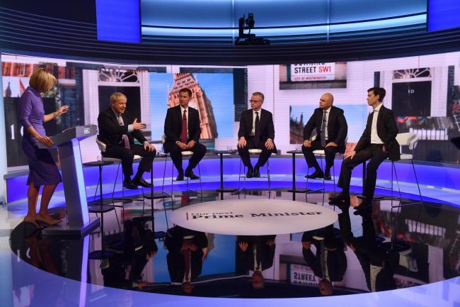 For use in UK, Ireland or Benelux countries only. ..BBC handout photo of (left to right) Host Emily Maitlis, Boris Johnson, Jeremy Hunt, Michael Gove, Sajid Javid and Rory Stewart during the BBC TV debate at BBC Broadcasting House in London featuring the