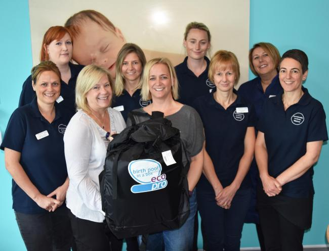 DONATION: Sapphire Team from Worcestershire Royal Hospital with Clare Tebbett, from Helter Skelter Newborn Photography