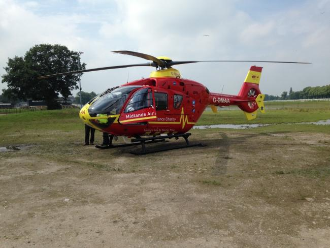 The air ambulance on Pitchcroft.