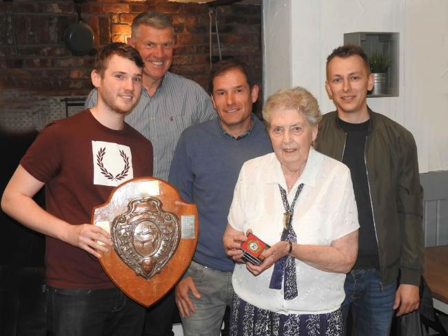 The Worcester Table Tennis League's Beryl Shammon presents the Division One shield to winners Rainbow (left to right): Mark Clinton, Simon Claxton, Pete Griffiths and Lukasz Gatkiewicz