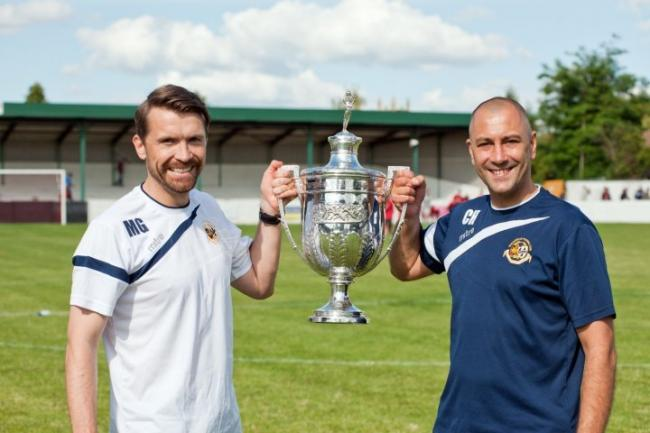 UP FOR THE CUP: Matt Gardiner (left) and Carl Heeley celebrate Worcester City winning the Worcestershire Senior Cup in 2015. Picture: worcestercityfc.com