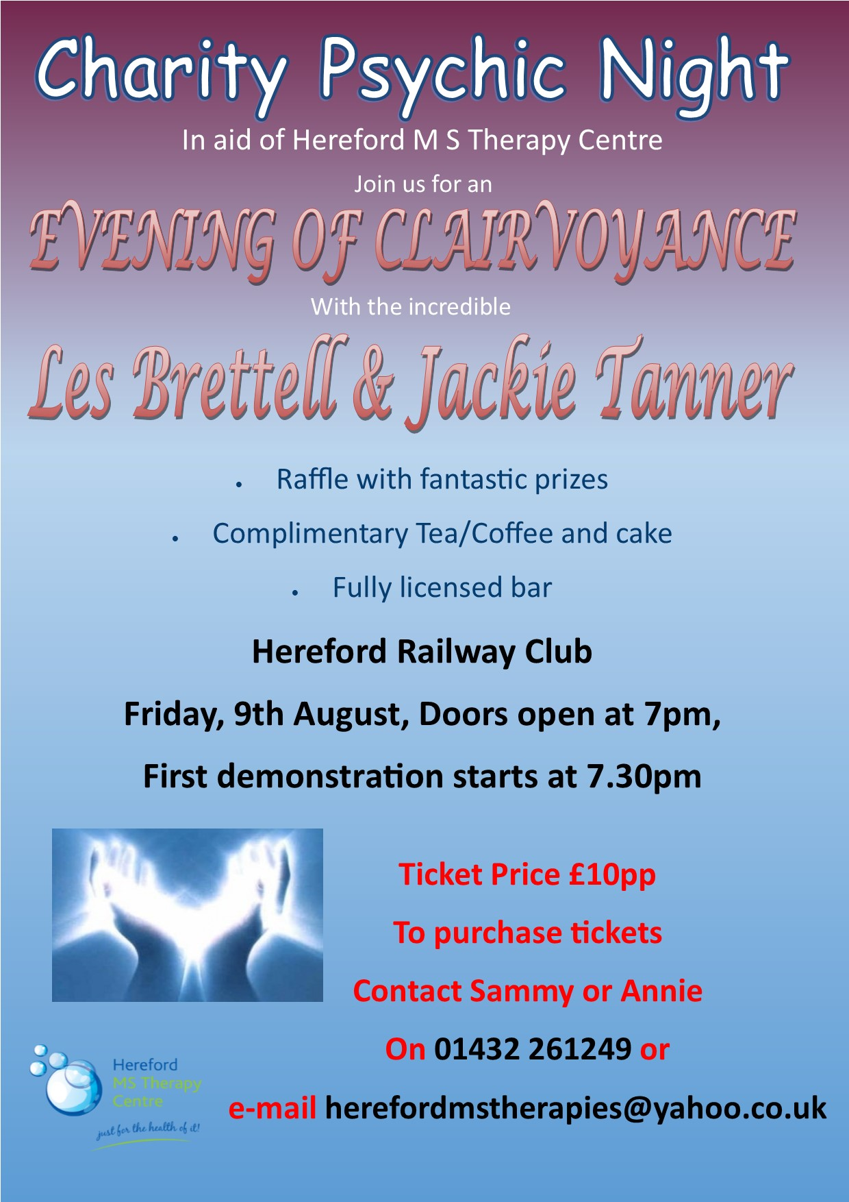 Charity Psychic Evening on 9 August at 19:00