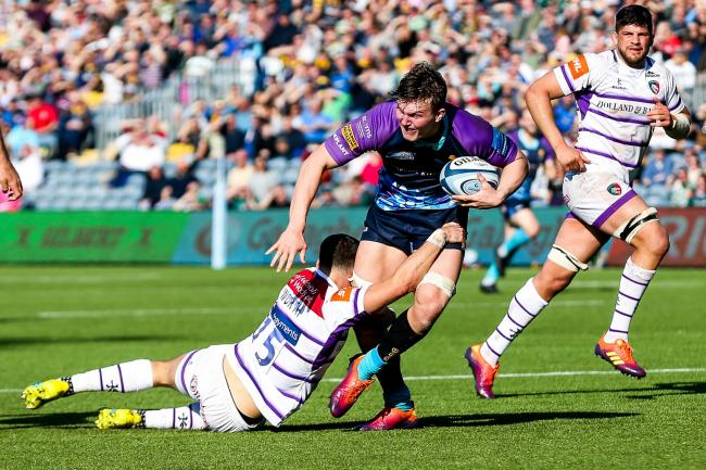 Ted Hill in action against Leicester Tigers. Picture: Rogan Thomson/JMP