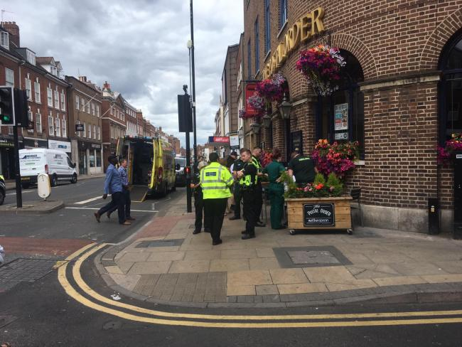 Emergency services are outside Postal Order on Foregate Street where a man has been hit by a bus