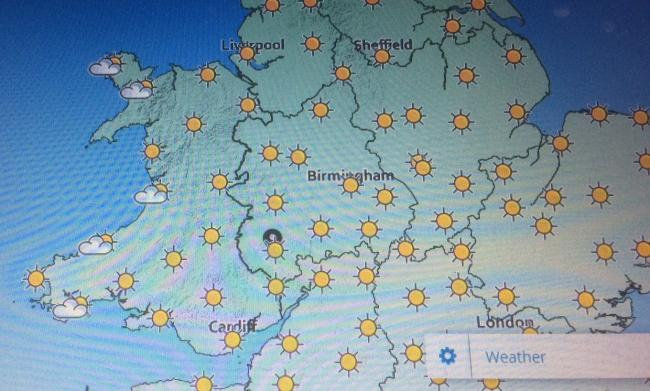 The forecast for next Tuesday when temperatures will get close to 30C. Photo: Met Office.