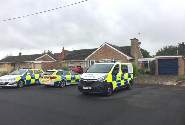 West Mercia Police officers searching a house in Kempsey, Worcestershire after female human remains were found in a septic tank on July 12. PRESS ASSOCIATION Photo. Picture date: Tuesday July 30, 2019. Detectives investigating the discovery  said they bel