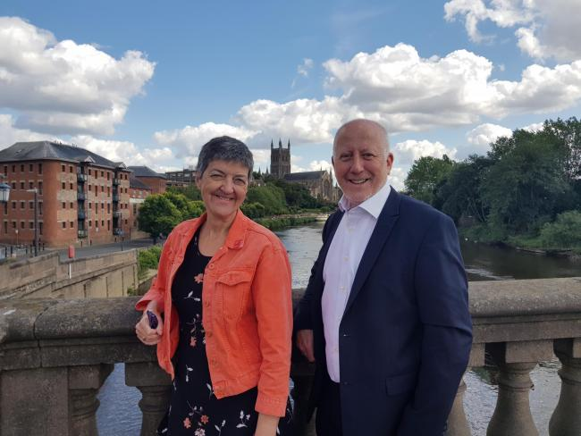 BUSES: Lynn Denham and Andy McDonald MP in Worcester