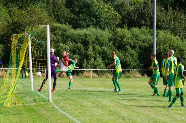 Droitwich Spa's Connor Collins on his way to a hat-trick in the 5-2 win at Gornal Athletic. Picture: MATHEW MASON