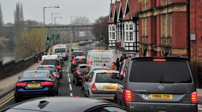 GRIDLOCK: Tailbacks in the city. Picture Jonathan Barry