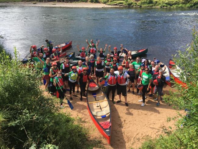Npower team hike, cycle and paddle for Macmillan | Worcester