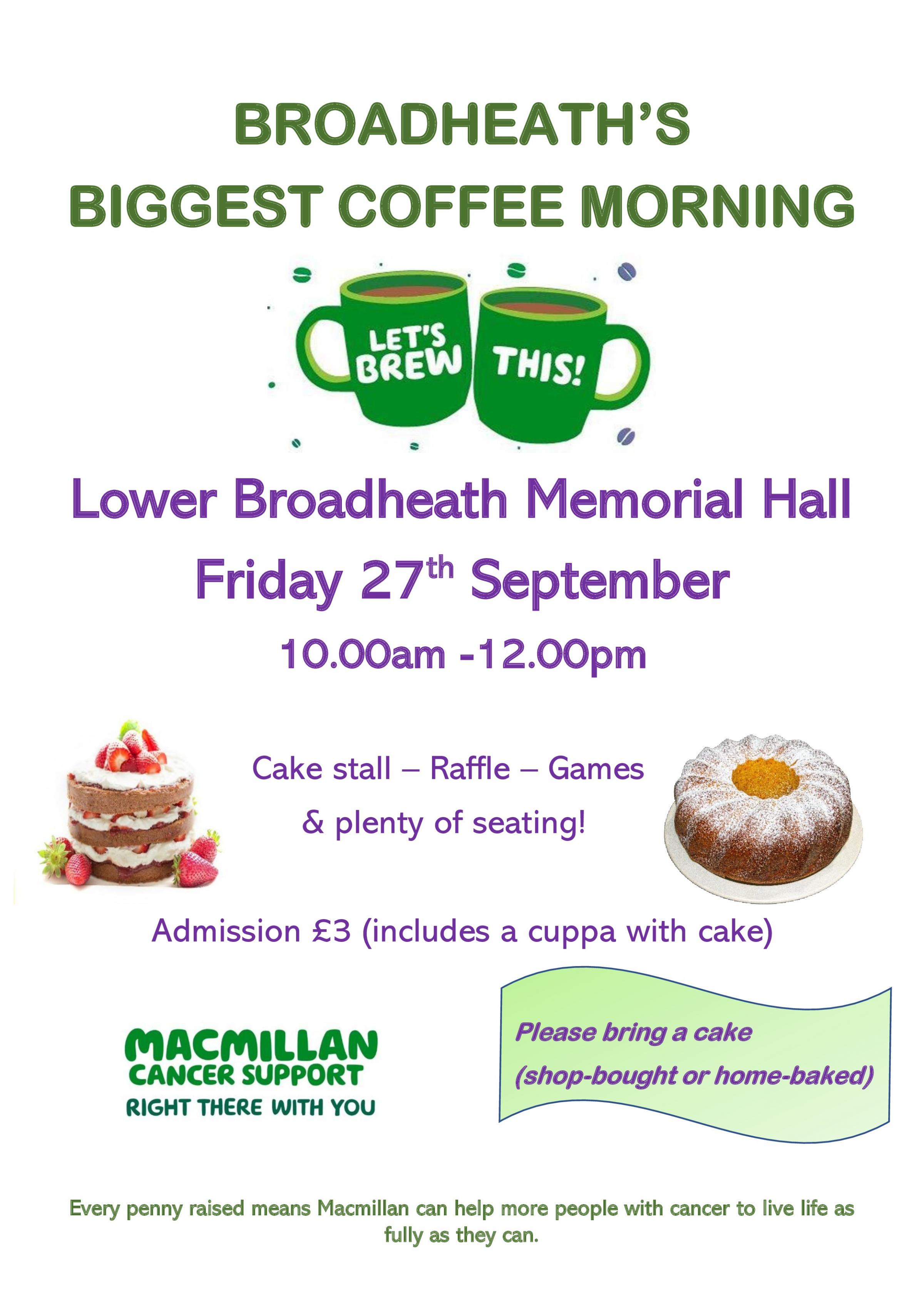 Broadheath's Biggest Coffee Morning