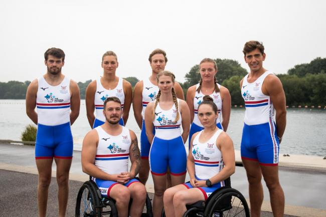Giedre Rakauskaite (back second from left) with her fellow Great Britain para-rowers. Picture: SPORTSBEAT