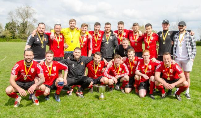 Callow End's 2018-19 squad show off last season's McDonald's Worcester and District Sunday League Premier Division trophy and medals. Picture: ROGER KING