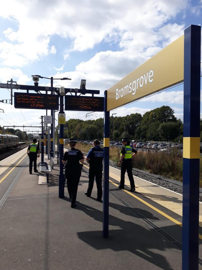 Police and British Transport Police at the railway station