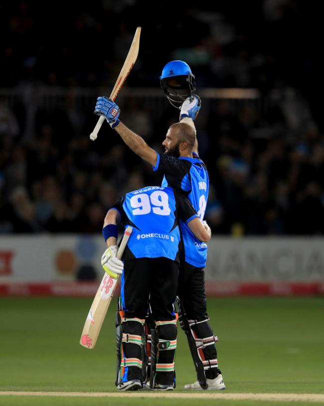 Worcestershire Rapids' Moeen Ali celebrates his century during the 2019 Vitality Blast quarter-final win at Sussex Sharks. Picture: ADAM DAVY/PA WIRE