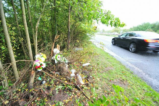 TRIBUTES: Flower left near to the scene of the fatal crash