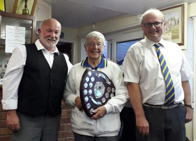 Ninety-year-old Iris Yeomans with fellow Barbourne Bowling Club members Rob Bishop and Darren Jeffery. Picture: MARTIN HILL