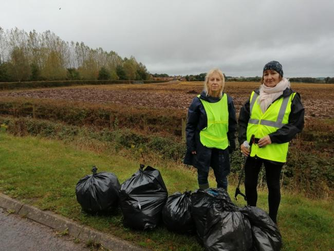 Jenny Woodman ( left) and Susy Wingate litter pickers