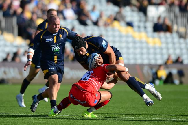 Graham Kitchener is tackled against Leicester Tigers. Picture: Dougie Allward/JMP