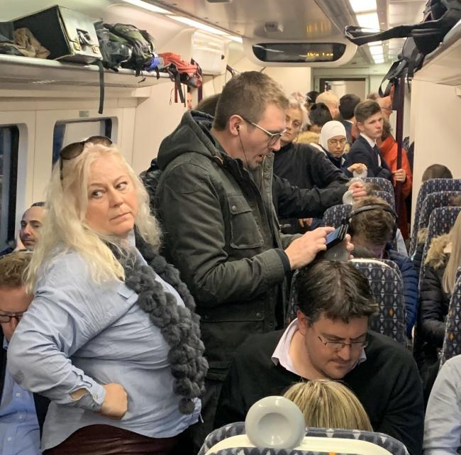 PACKED: Passengers are still struggling with overcrowding on the Hereford-Birmingham line. Pic. @jo_martyr - Twitter