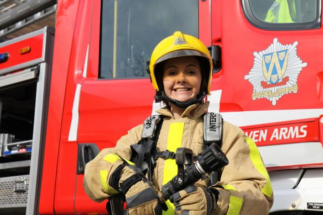 Recruitment drive for female fire fighters at Craven Arms Fire Station..Potential recruit Becky Cox from Craven Arms prepares for fire fighting.