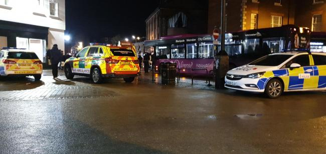 BUS: Ambulance and police teams were at the scene