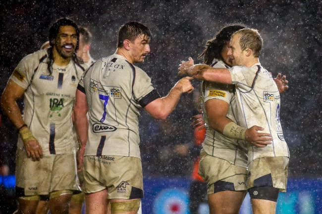 Worcester Warriors players celebrate. Picture: Robbie Stephenson/JMP