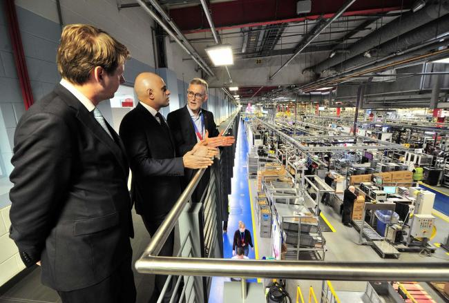Chancellor of the Exchequer Sajid Javid, with Robin Walker and Bosch CEO Carl Arntzen  during his visit to Worcester Bosch.........Pic Jonathan Barry 8.11.19.