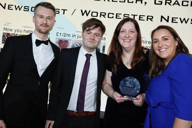AWARD: Worcester News editor Michael Purton, reporter Ryan Merrifield and news editor Alicia Kelly receive the award from Katie Cohen, senior media relations manager with HSBC UK