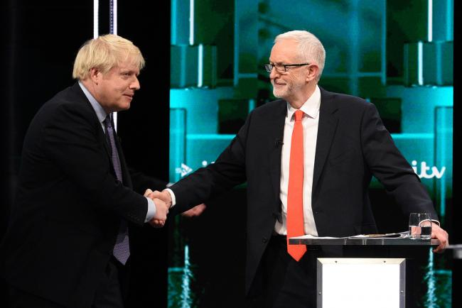 ELECTION: Boris Johnson and Jeremy Corbyn after the first leaders' debate. Pic. ITV/PA Wire