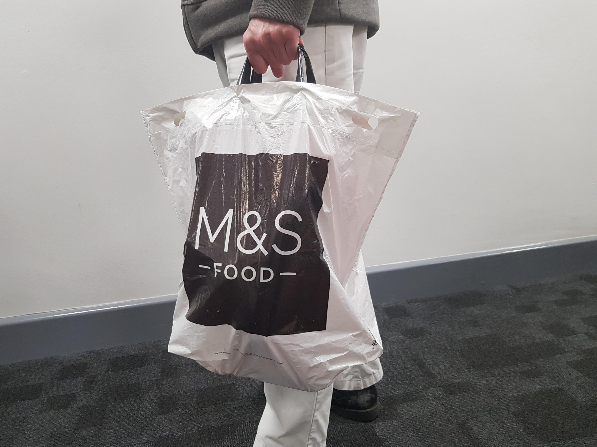 Marks & Spencer carrier bag contained stolen food worth £300