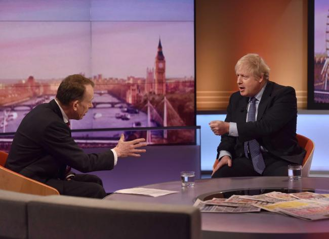 DEBATE: Boris Johnson appearing on the Andrew Marr programme on Sunday. Picture: Jeff Overs/PA Wire