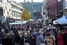 RELAXING: People spending time at the annual Worcester Victorian Christmas Fayre