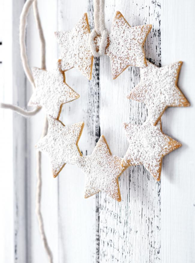 Vanilla star wreaths from Christmas Feasts and Treats by Donna Hay. Picture: Chris Court/PA