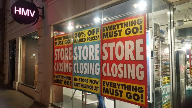 SHUTTING: Signs have gone up at Worcester HMV to confirm the retailer is closing in the city after Christmas
