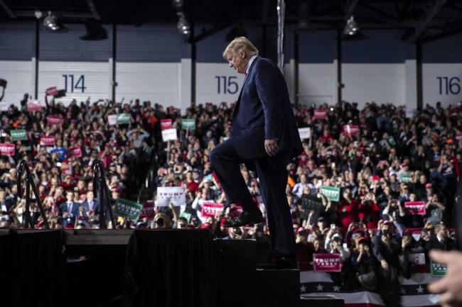 IMPEACHMENT: President Donald Trump arrives at a campaign rally. Picture: AP Photo/ Evan Vucci