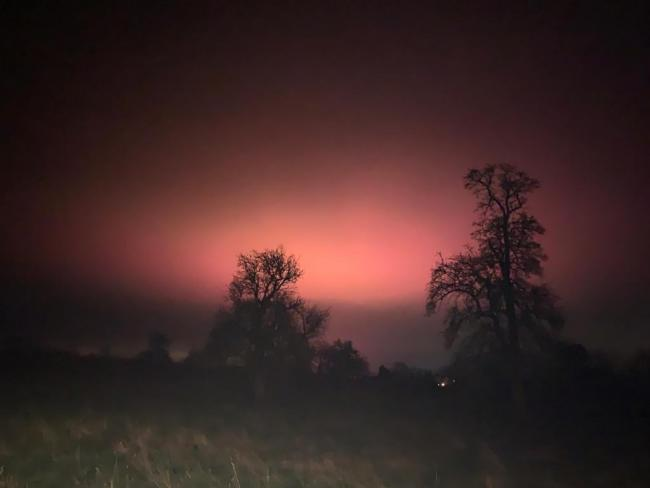 Pink glow in the sky over Throckmorton