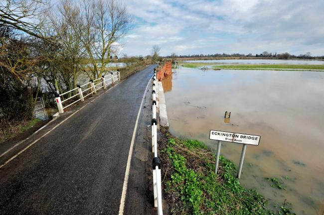 Eckington Bridge and the B4080  have been closed after the River Avon burst it's banks and flooded the surrounding area. Pic Jonathan Barry 13.3.18