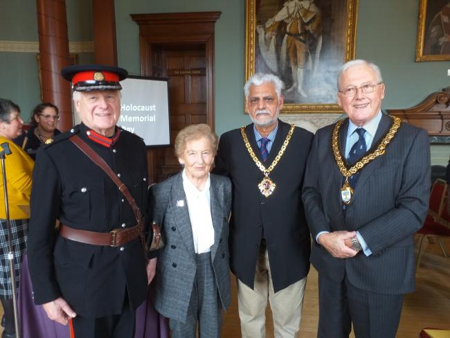 MEMORIAL: Deputy Lord-Lieutenant Andrew Grant, Holocaust survivor Mindu Hornick, Mayor of Worcester Allah Ditta and Cllr Peter Tomlinson, Chair of Worcestershire County Council. Pic. Peter Tomlinson