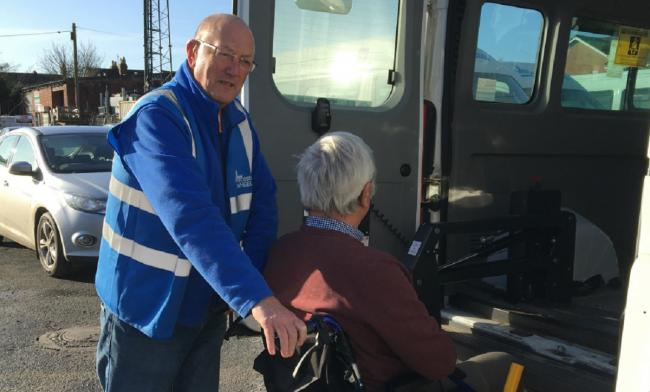 HELP: Mick Monaghan from Worcester Wheels lending a hand