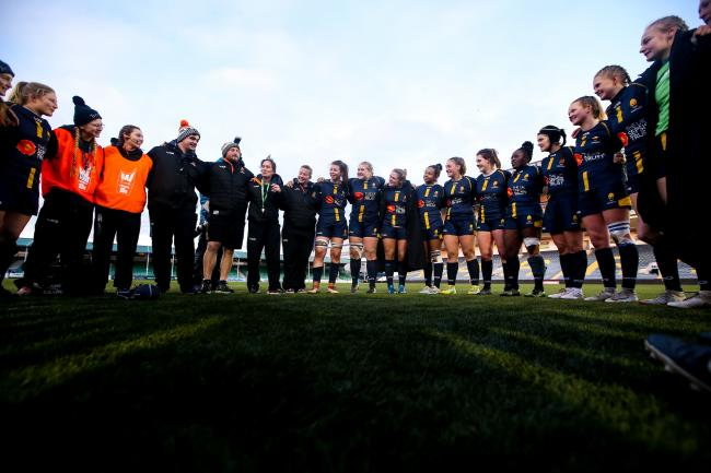 TEAM: Warriors Women in the team huddle prior to the coronavirus lockdown. Pic. Robbie Stephenson/JMP