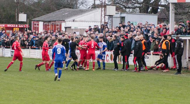 FLASH POINT: One of the heated moments during the FA Vase clash between Atherstone Town and Worcester City at the weekend. Picture: Roger King
