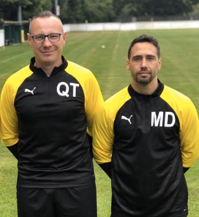 Stourport Swifts manager Quentin Townsend and his assistant Mark Danks. Picture: Twitter @StourportSwifts