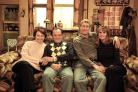 Only Fools and Horses cast picture, from left, Tessa Peake-Jones as Raquel, David Jason as Del, Nicholas Lyndhurst as Rodney and Gwyneth Strong as Cassandra in a Christmas Only Fools and Horses special, which is on a new chart of the most-watched programm