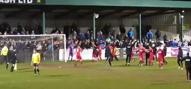 STANDOFF: Atherstone Town celebrate in the faces of City fans on Wednesday. Pic: Twitter