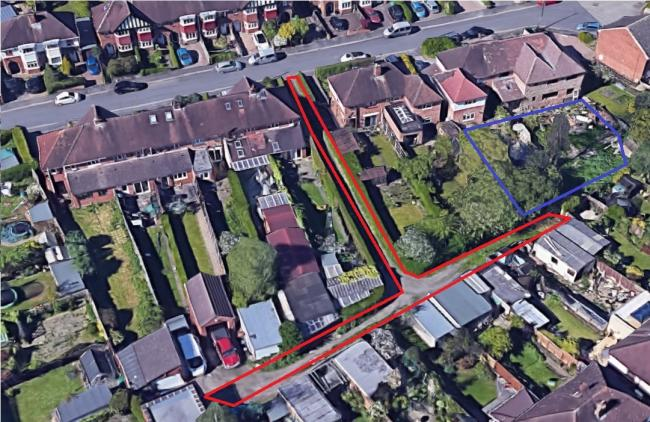 OBJECTIONS: A plan to build a garage and home office in a garden (marked in blue) in Camp Hill Avenue has raised objections from neighbours who say he does not own the land (marked in red)