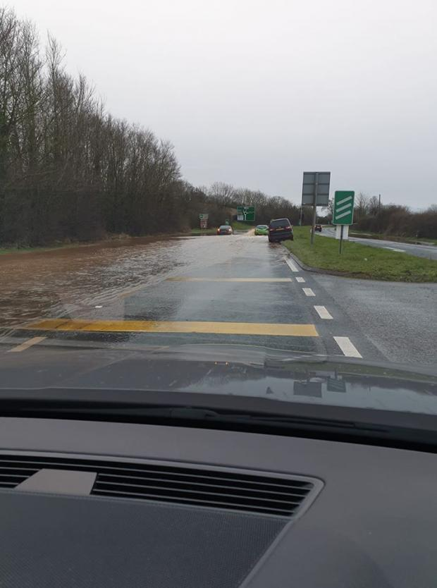 A449 is flooded and closed in both directions between Claines and Ombersley. Picture: Helen Mason-Bedford