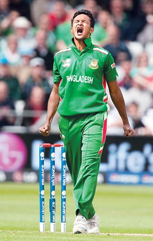OWZAT!: Shakib Al Hasan in action for Bangladesh.