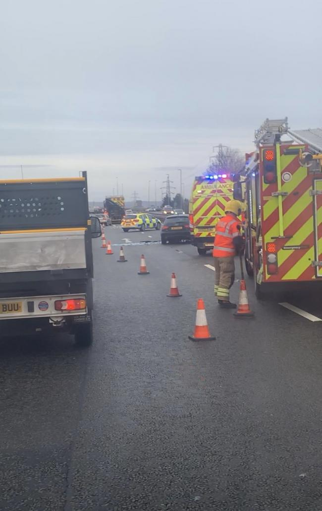 EMERGENCY: Car and lorry crash. PHOTO: PGE Services