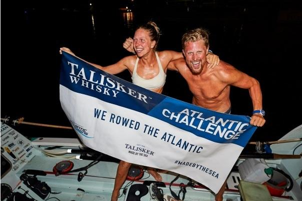 Anna and Cameron McLean complete row of the Atlantic Ocean. Picture: Atlantic Campaigns/Ben Duffy